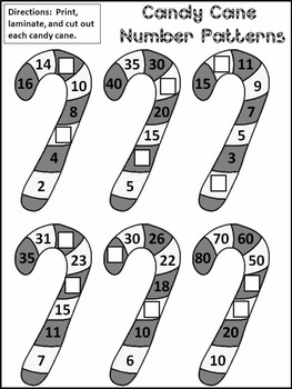 Candy Cane Activities: Candy Cane Number Patterns Christmas Math Center