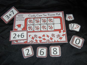 Candy Cane Activities: Candy Cane Christmas Ten Frames Math Activity