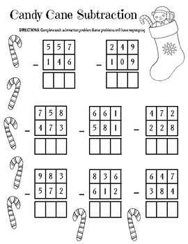 Candy Cane Addition and Subtraction