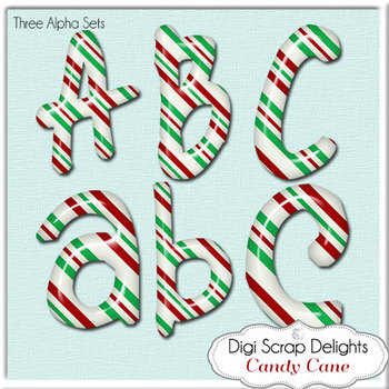 Candy Cane Alpha: 3 Sets Clip Art