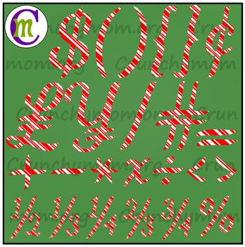 Candy Cane Alphabet & Candy Cane Numbers Clip Art BUNDLE
