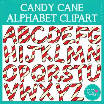Candy Cane Alphabet Clipart