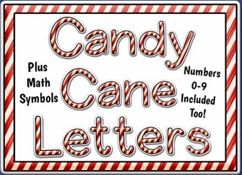 Candy Cane Alphabet Letter Set and Numbers Clip Art