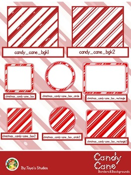 Candy Cane Borders and Backgrounds
