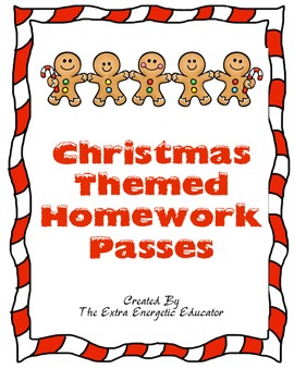 Candy Cane Christmas Homework Pass