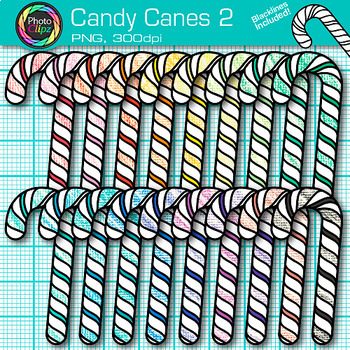 Rainbow Candy Cane Clip Art {Christmas Treats for Worksheets & Resources} 2