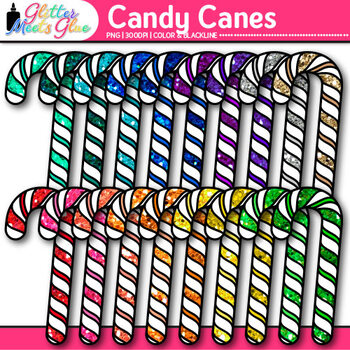 Rainbow Candy Cane Clip Art {Christmas Treats for Workshee