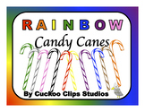 Candy Cane Clip Art (Rainbow)