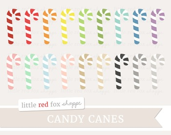 Candy Cane Clipart; Christmas, Holiday, Treat, Dessert