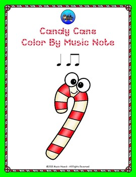 Candy Cane Color By Music Note Rhythm Coloring - Quarter/Eighth Note
