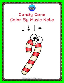 Candy Cane Color By Music Note Rhythm Coloring - Quarter & Half Notes/Rests