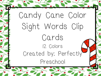 Candy Cane Color Sight Word Clip Cards