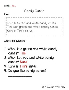 Candy Cane Comprehension Practice