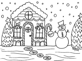 Candy Cane Cottage Coloring Sheet