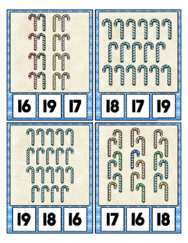 Candy Cane Counting Clip Cards Math Center ~ They Sparkle ~ Counting to 20