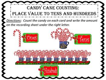 Candy Cane Counting:  Place Value to Tens and Hundreds