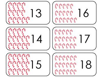 Candy Cane Counting Printable Flashcards. Preschool- Kindergarten Math.