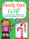 Candy Cane Craft For Articulation, Adjectives, Word Associ