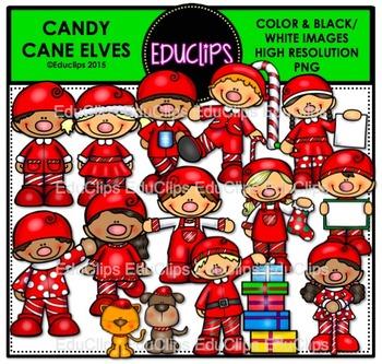Candy Cane Elves Clip Art Bundle {Educlips Clipart}