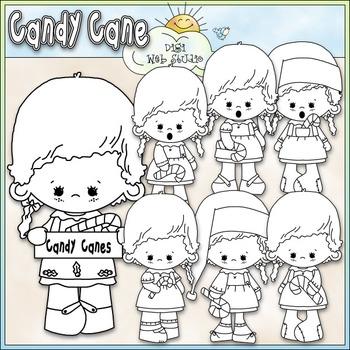 Candy Cane Girls Clip Art - Christmas Clip Art - CU Clip Art & B&W