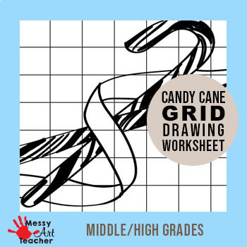 Candy Cane Grid Drawing Worksheet for Middle/High Grades