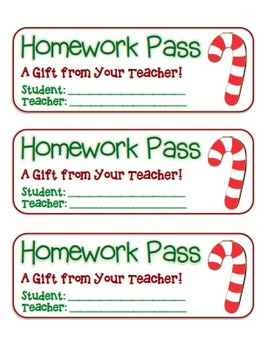 """""""Candy Cane"""" Homework Pass –Holiday FUN! (full color version)"""