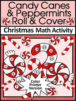 Candy Cane Activities: Candy Cane Roll & Cover Christmas Math Game Activity