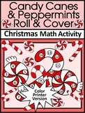 Candy Cane Activities: Candy Cane Roll & Cover Christmas Math Activity - Color