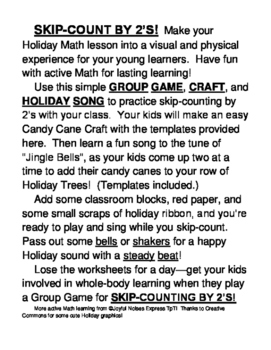"""""""Candy Cane Math Game!"""" - Skip-Counting by 2's for Christmas Fun!"""