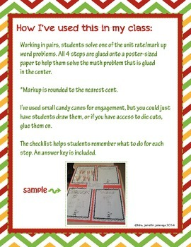 Candy Cane Math Project: percents, unit rate, markup