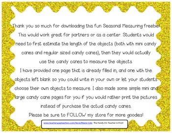 Candy Cane Non-Standard Measurement FREEBIE!