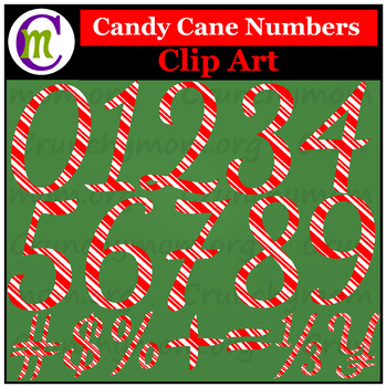 Candy Cane Numbers Clip Art