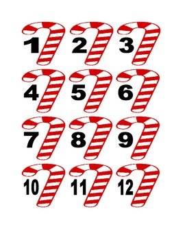Candy Cane Numbers for Calendar or Counting Activity