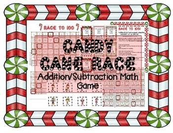 Candy Cane MATH Race! Christmas/Holiday themed addition-su