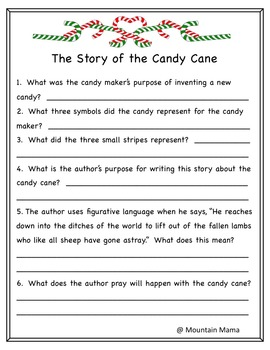 Candy Cane Reading Passages and Activities with Bible ...