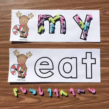 Candy Cane Reindeer Mini Eraser Letters, Numbers, and Words