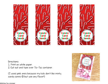 Candy Cane Seeds {Free Printable Label} Student Gift