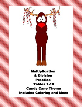 Multiplication and Division Practice- Tables 1-10-Candy Cane Themed