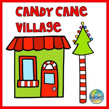 Candy Cane Village File Folder Game
