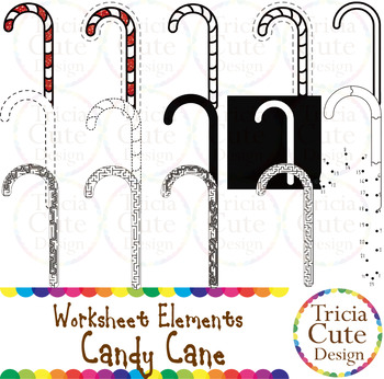 Candy Cane Worksheet Elements Clip Art for Tracing Cutting Puzzle Maze Outline