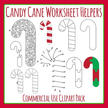 Candy Cane Worksheet Helpers for Christmas - Commercial Use Clip Art
