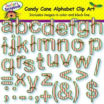 Candy Canes Alphabet Clip Art