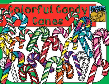 Candy Canes Colorful Clip Art by Kid-E-Clips Commercial and Personal