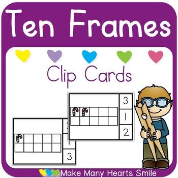 Candy Canes Ten Frames Clip Cards