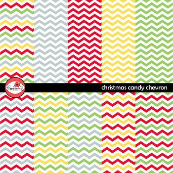 Candy Christmas Chevron Digital Paper Set by Poppydreamz