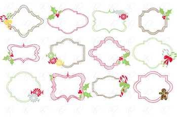 Candy Christmas Frames Clipart Set by Poppydreamz