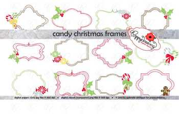 Candy Christmas Frames Clipart Set by Poppydreamz
