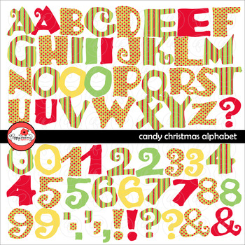 Candy Christmas Alphabet Clipart Set by Poppydreamz
