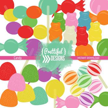 Candy Clip Art Gummy Bears, Lollipops, Gum Drops