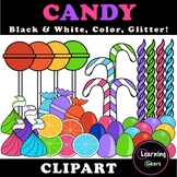 Rainbow Candy Clipart - Black & White, Color, Glitter!